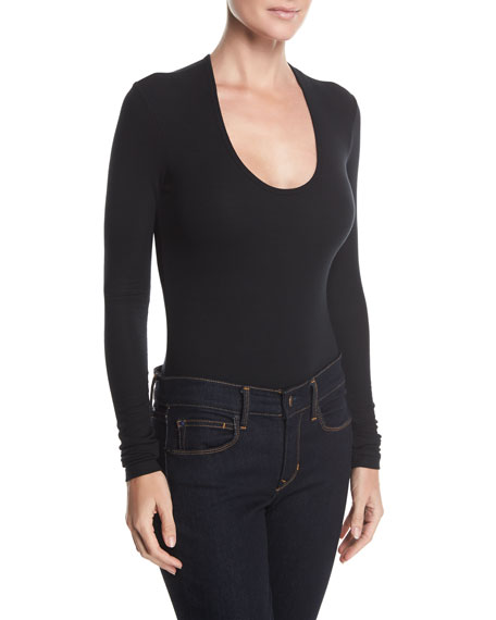 ATM Anthony Thomas Melillo Modal Rib Scoop-Neck Bodysuit