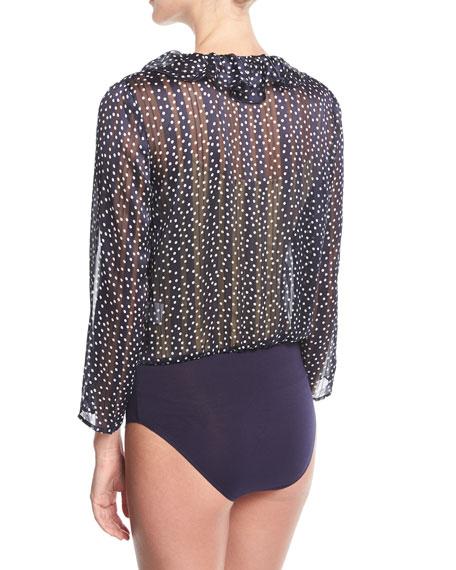 Dot-Print Wrap Bodysuit