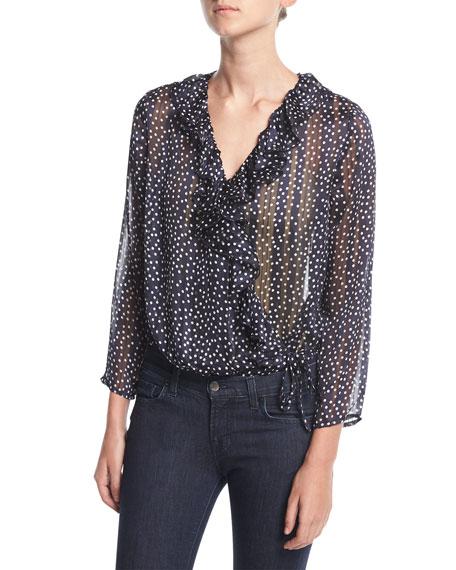 19 Cooper Dot-Print Wrap Bodysuit