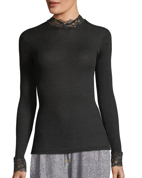 Hanro Lillian Lace-Trim Turtleneck Top