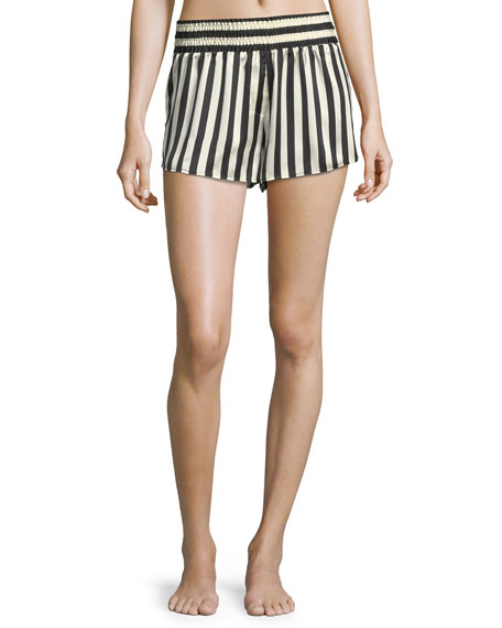 Corey Striped Silk Pajama Shorts