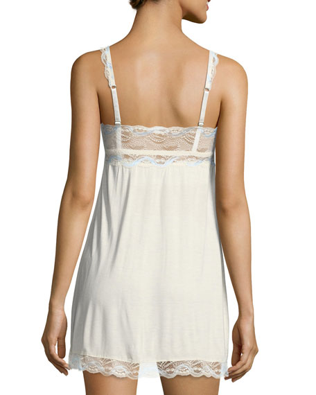 Something Blue Lace-Trimmed Chemise, Ivory