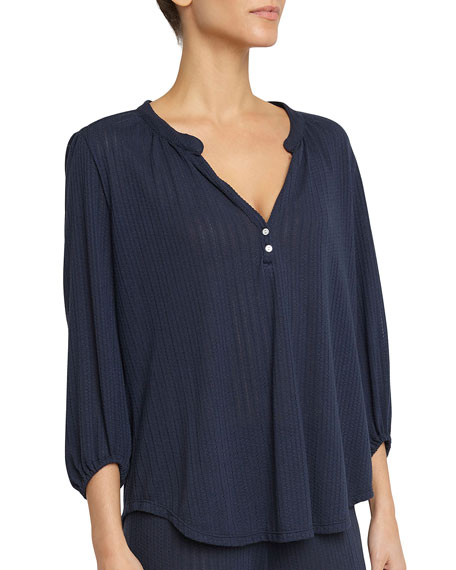 Eberjey Baxter 3/4-Sleeve Lounge Peasant Top