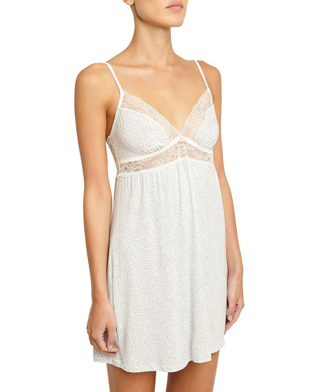 Eberjey Mink Puff Lace-Inset Chemise