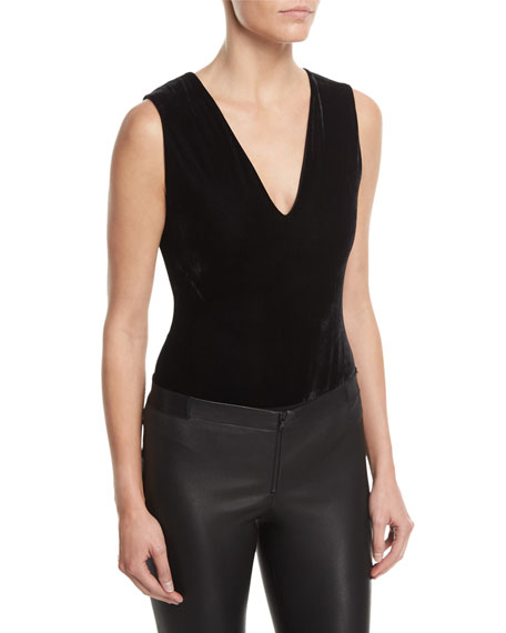 Alice + Olivia Marley V-Neck Sleeveless Velvet Bodysuit