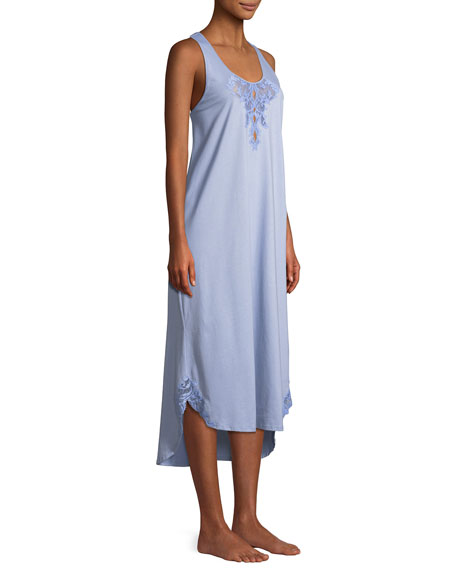 Bliss Lace-Inset Sleeveless Cotton Nightgown