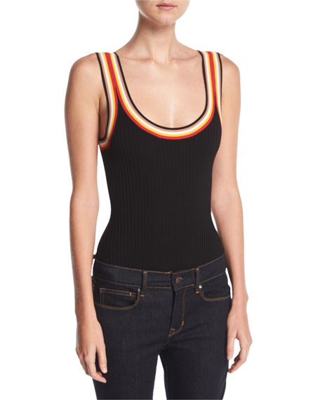 Kendall + Kylie Rainbow-Trim Ribbed Bodysuit