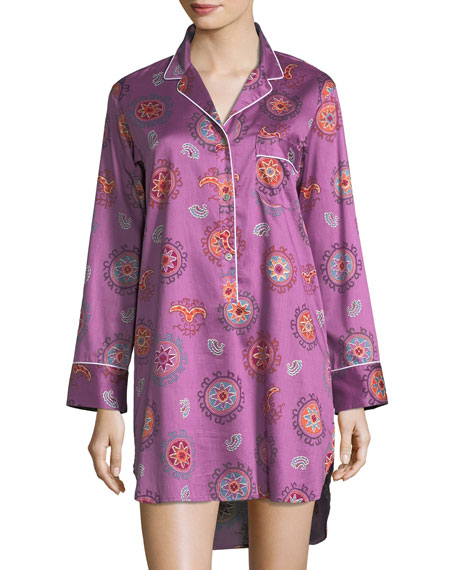 Mayan Print Long-Sleeve Sateen Sleepshirt