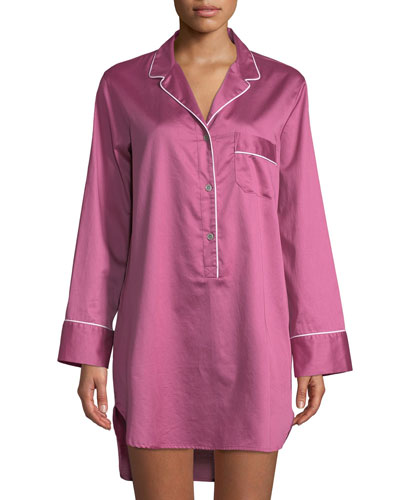 Contrast-Trim Long-Sleeve Sateen Sleepshirt