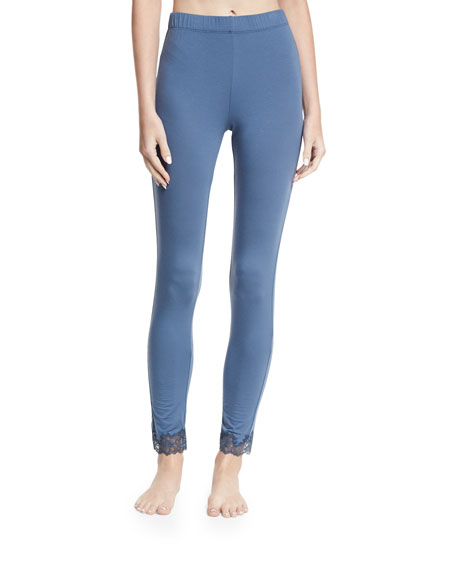 Josie Natori Undercover Lace-Trim Jersey Leggings and Matching