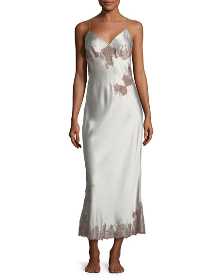Josie Natori Lillian Long Sleeveless Lace-Trim Nightgown