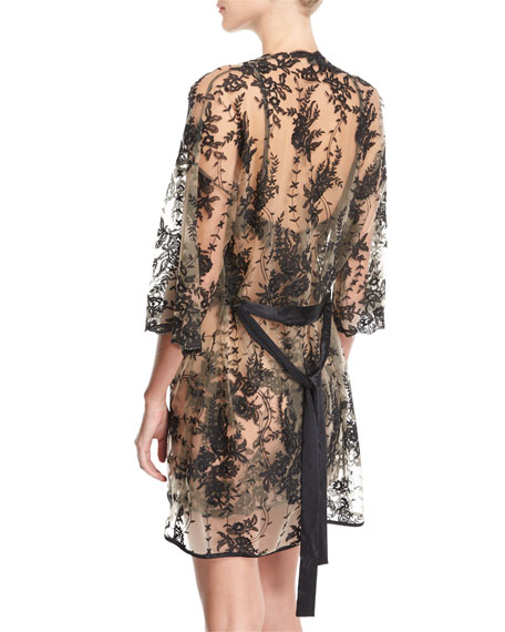 Rosie Sheer-Lace Short Robe