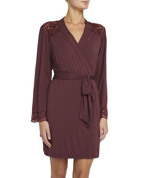 Eberjey Lila Lace-Inset Short Robe