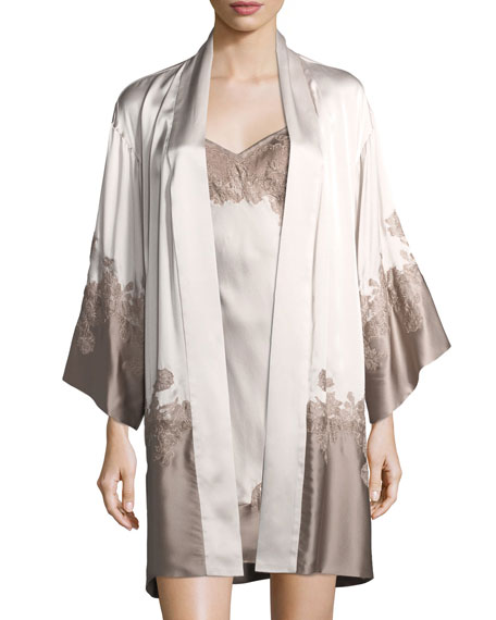 Josie Natori Lolita Colorblock Lace-Trim Silk Robe