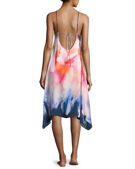 Mirage Print Sleeveless Silk Nightgown