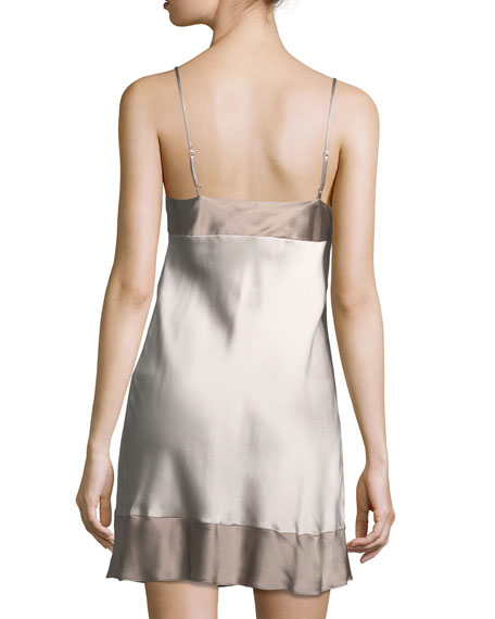Lolita Colorblock Lace-Trim Silk Chemise