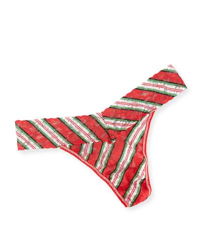 It's a Wrap Original-Rise Striped Lace Thong