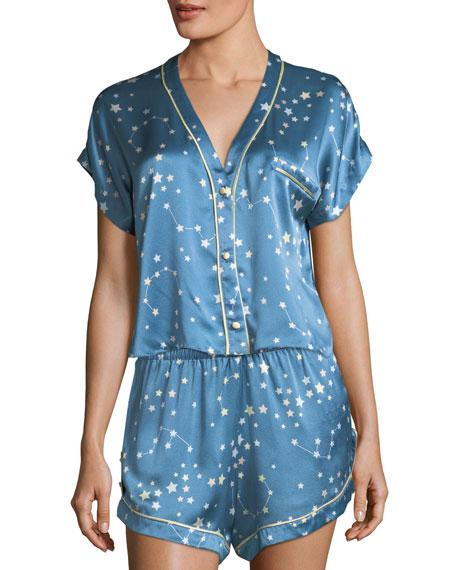 Morgan Lane Joanie Star-Print Silk Pajama Top