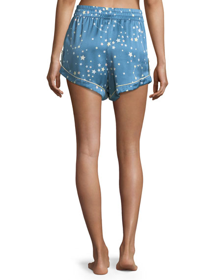 Chloe Star-Print Silk Pajama Shorts