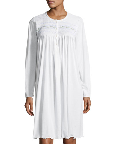 Isolda Long-Sleeve Cotton Nightgown
