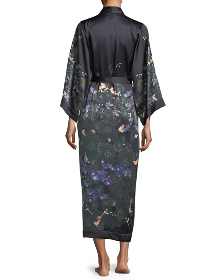 Floral-Print Silk Long Robe
