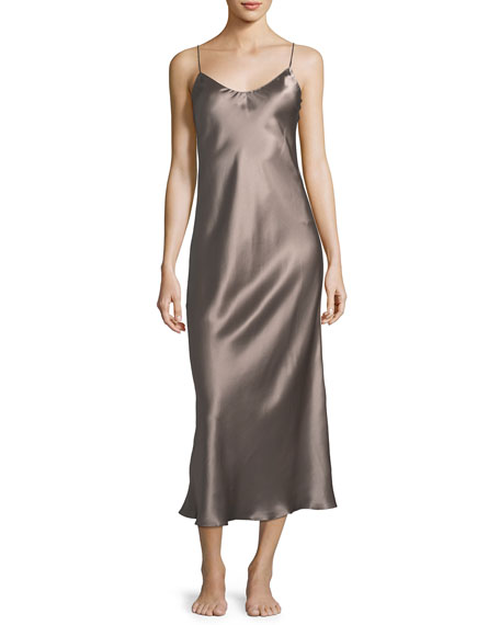 Sleeveless Long Silk Nightgown