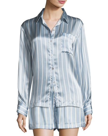Asceno Striped Silk Pajama Top and Matching Items