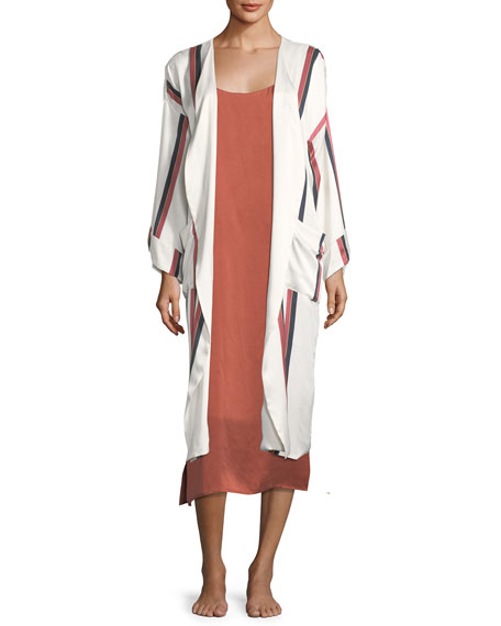 Asceno Ochre Stripe Patch-Pocket Robe and Matching Items