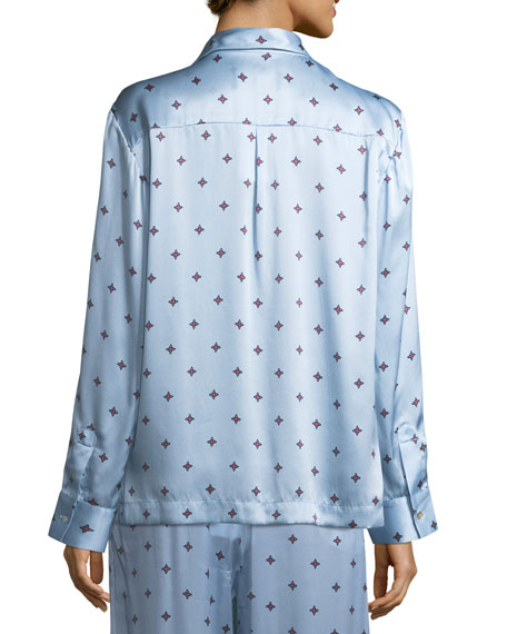 Sky Star Silk-Satin Pajama Top