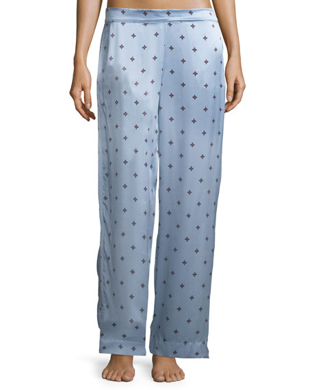 Asceno Sky Star Print Silk-Satin Pajama Pants