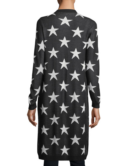 Allover-Stars Open-Front Cardigan