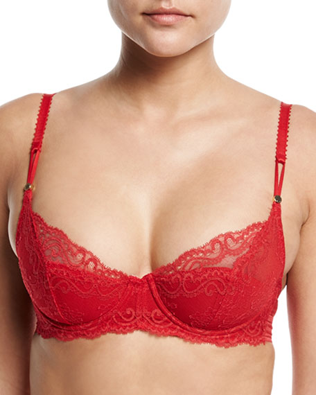 Stella McCartney Poppy Playing Lace/Foam Balconette Bra, Red