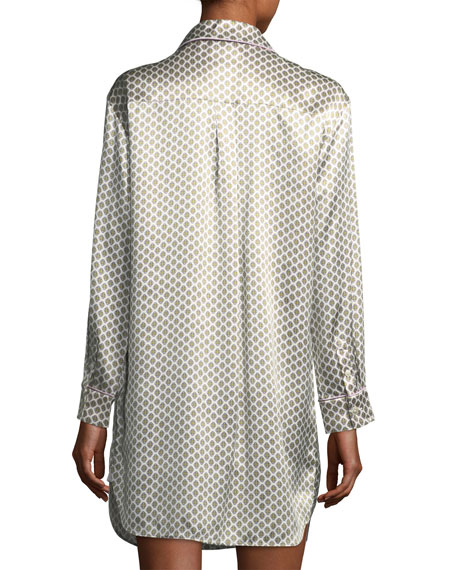 Poppy Six Long-Sleeve Silk Sleepshirt
