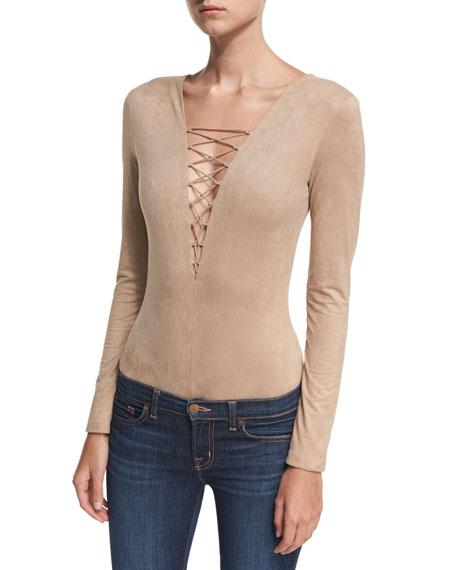 Faux-Suede Long-Sleeve Lace-Up Bodysuit