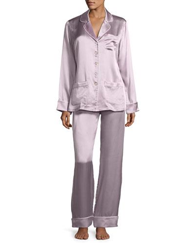 Coco Amethyst Long Silk Pajama Set