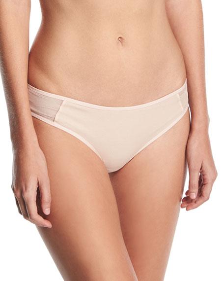 Teal Mesh-Inset Bikini Briefs