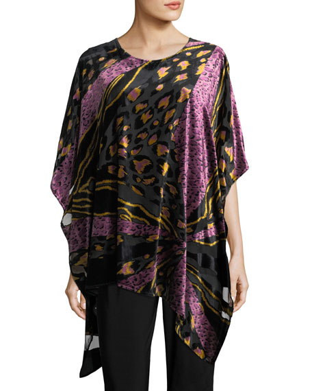 Caroline Rose Party Animal Devore Velvet Caftan, Plus