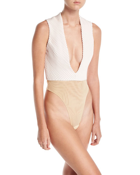 Mitered Silk Deep-V Bodysuit