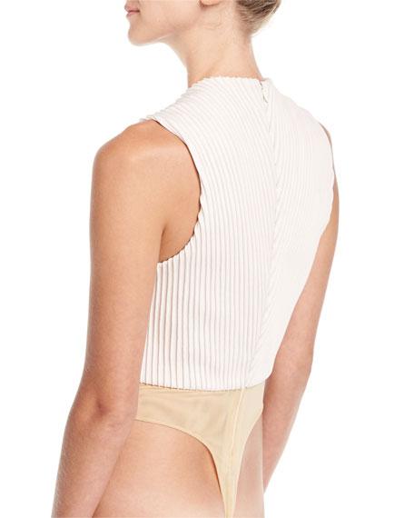 Mitered Silk Deep-V Bodysuit