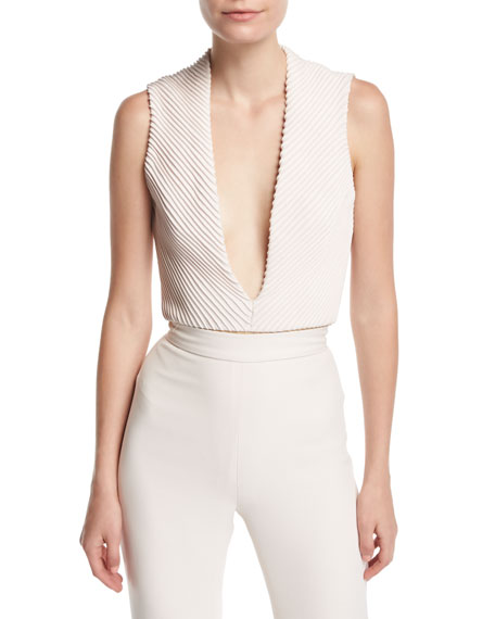 Brandon Maxwell Mitered Silk Deep-V Bodysuit