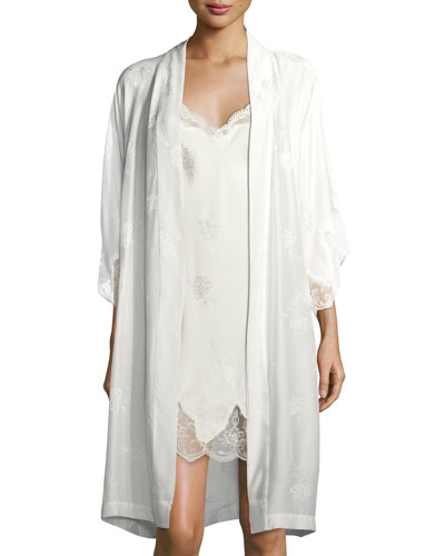 Bridal Lace-Trim Silk-Blend Robe