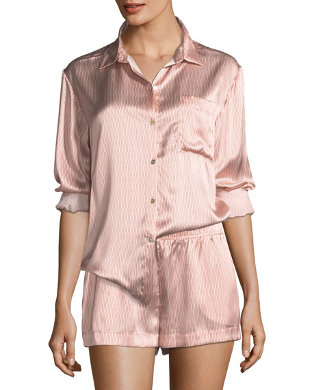 Asceno Rose Matchstick Silk Pajama Top and Matching