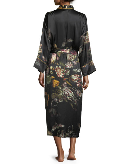 Sofia Floral-Print Long Silk Robe
