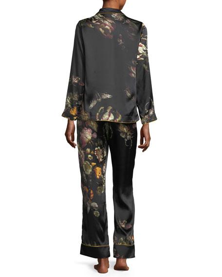 Ines Floral-Print Silk Pajama Set