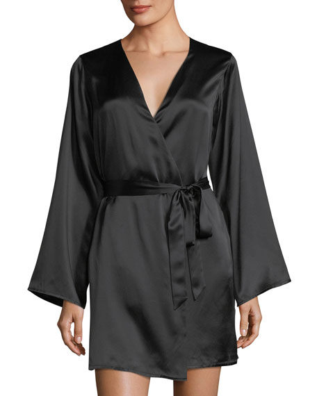 Langley Silk-Charmeuse Short Robe