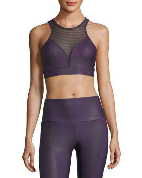 Dahlia Venom High-Neck Striped Mesh Racerback Sports Bra