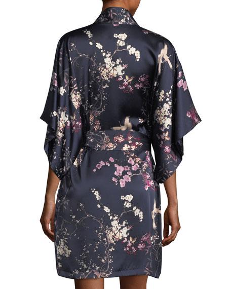 Pandora Floral-Print Silk Robe