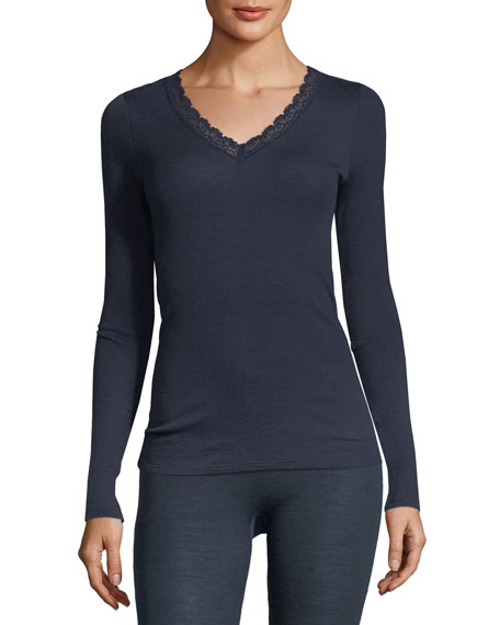 Hanro Lace-Trim Long-Sleeve Top and Matching Items