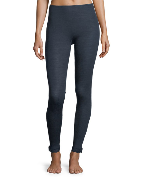 Wool-Silk Thermal Lace-Trim Leggings