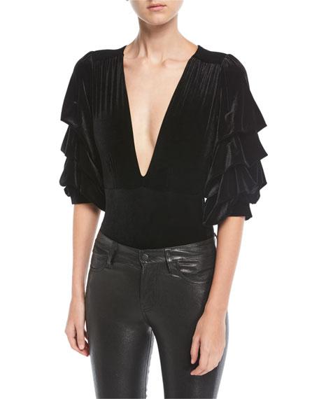 Linde Plunging Ruffled-Sleeve Velvet Bodysuit